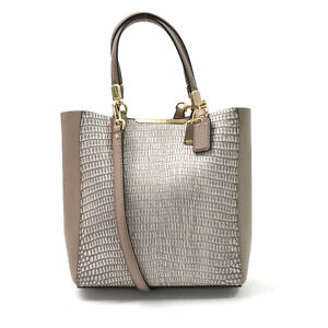 NWT COACH 28302 Madison Mini Bonded Lizard Embossed North South Leather Tote Bag