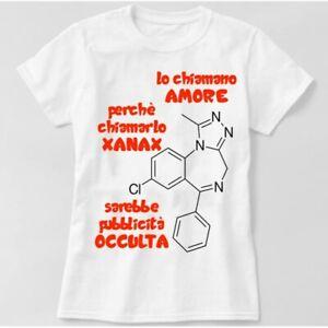 Candyshop T-shirt Maglietta scritta divertente Amore Xanax medicina ansia gioia