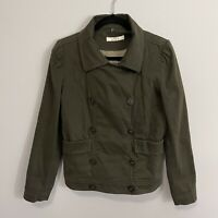 Ann Taylor LOFT Women's Army Green Quilted Double Breasted Jacket Size L