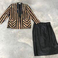 Vintage Suda Thai Handwoven Silk Skirt Set Suit Coordinated Modern SZ Large / XL