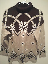 Vintage Ugly Christmas Sweater Tacky - Large L Brown Classic Elements Snowflakes