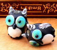 10pcs handmade Lampwork glass beads glass lovely owl 12*16mm