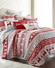 NEW Christmas Holiday Blitzen Reindeer Snowflakes Red Blue FULL/QUEEN Quilt