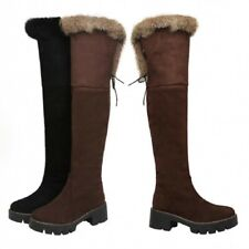 Women Furry Winter Warm Outdoor Chunky Heel Round Toe Over The Knee High Boots L