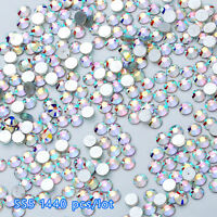 Lot 1440pcs Flat Back Nail Art Rhinestones Glitter Diamond Gems 3D Tip DIY Decor