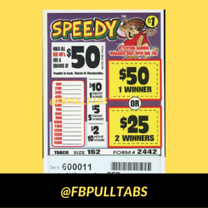 SPEEDY - 162 PULL TABS - $1 EACH - $57 PROFIT - FUNDRAISER - FREE SHIPPING