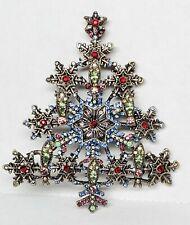SNOWFLAKE CHRISTMAS TREE Brooch Pin Rhinestone Antiqued Silver Tone
