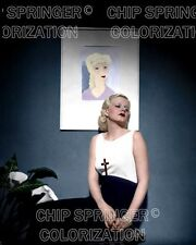 JEAN HARLOW WEARING DRESS WITH A CROSS BEAUTIFUL COLOR PHOTO BY CHIP SPRINGER