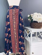 Free People Cantina Boho Linen Wrap Maxi Skirt Sz. Xs NWT