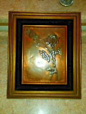"""New listing Vintage Embossed Copper Picture 9"""" x 12"""" Roses plus beautiful Frame"""