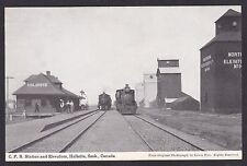 Circa 1910 Vintage Postcard CPR Station & Elevators HALBRITE Saskatchewan Canada