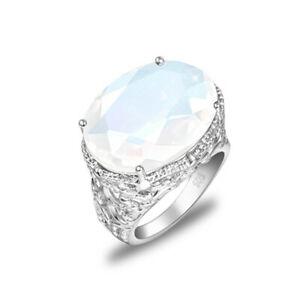 Woman Charming Jewelry Oval Rainbow Moonstone Gemstone Silver Ring Size 7 8 9