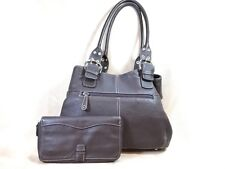 Tignanello Large Dark Brown Pebbled Leather Shoulder Bag PURSE NEW with Wallet