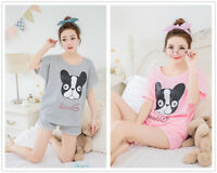 Animals Dog Set Of Sportswear Shirt & Shorts Women's Sleepwear Pajama Nightwear