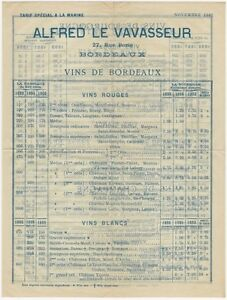 1901/1902 French Wine Seller Price Brochure & Letter to US Navy Ship Captain