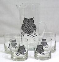 Vintage Barware Set Glass Pitcher 4 Tumblers with Black OWL Motif Mid Century