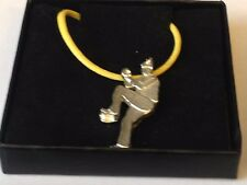 """Baseball Pitcher GT10 English Pewter On 18"""" Yellow Cord Necklace"""
