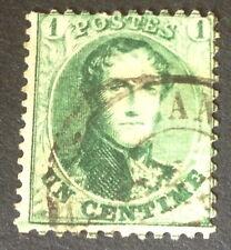 Timbre Belgique, n°13A, 1c vert, Obl, TB, cote 85e.
