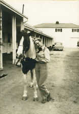 c1930 Cowgirl Jean Yoder with her Pinto Horse Portrait Photograph