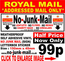 No Junk Mail Vinyl Sticker, Stop Unwanted Junk Mail.(RMO)Menus,Flyers,Leaflets