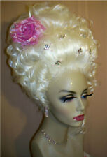 Drag Queen Wig Up Do White Blonde Beaded Crystals Marie Antoinette Style Curls