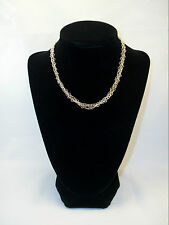 "Triple Strand Chain Choker w/Heart Links Silver-Tone 14"" (#14141) EUC"