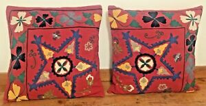 pair(2) Pottery Barn Red Star Suzani Floral Embroidered Throw Pillow Covers 24""