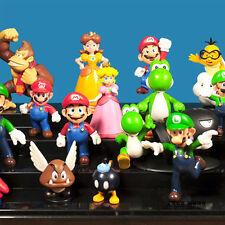 PVC Figurines Mario Bros Mario Luigi Daisy Goomba Yoshi Bullet Bill 12 Pcs/ Set