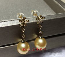 Top real 18K diamond GOLD 12-13MM SOUTH SEA round golden PEARL Dangle EARRINGS