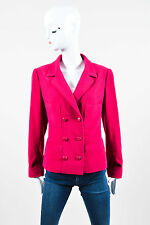 Chanel 98A Pink Magenta Textured Woven Wool Double Breasted Jacket SZ 42