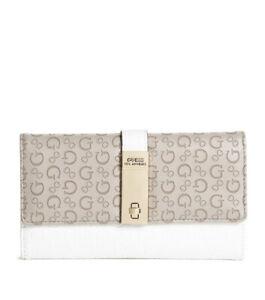 Women Guess GALYA SLG Check Organizer Foldover Wallet Taupe Multi SG809851