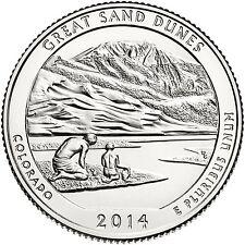 2014 S Great Sand Dunes Colorado America the Beautiful BU Quarter US Mint Roll