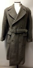 "1940s Vintage Men's Coat Heavy Wool Double Breasted Green/brown Belted 44"" Reg"