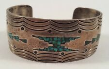 Gibson Gene Vintage Indian Sterling Silver Turquoise Coral Chip Inlay Bracelet