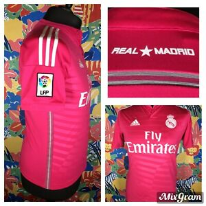Real Madrid Pink 2014 15 Adidas Climacool Away Shirt Size S Embroidered Logos