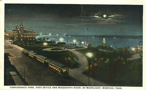 Confederate Park Post Office River 1925 Memphis Tennessee Railroad Postcard