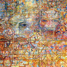 Russian Avant-Garde Filonov Art Colorful Ceramic Mural Backsplash Face Tile #688