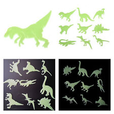 9Pcs Glow in the Dark Dinosaurs Plastic Stickers Kids Room Wall Art Decoration