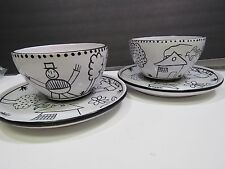 2 FESTIN COQUIN Art Pottery Provence Childs Plate/Bowl Hand Painted BLACK WHITE