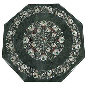 "green marble 24"" center Table Top floral semi precious stones handmade work"