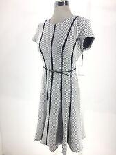 Calvin Klein NWT BLACK/EGGSHELL Fit&Flare Textured Dress Pettite size 8P 10P 12P