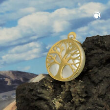 375 Gelbgold Goldanhänger Anhänger 12mm Baum des Lebens mit Perlmutt 9Kt GOLD