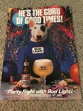 "Vintage SPUDS MACKENZIE BUD LIGHT Poster Print Ad BUDWEISER ""GURU OF GOOD TIMES"""