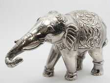"Large Elaborate Sterling Silver Elephant Figurine ~ 6"" / 195 g"