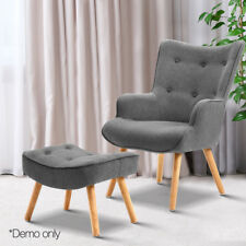 Armchair Lounge Chair Ottoman Grey Accent Fabric Tub Upholstered Foam Padding