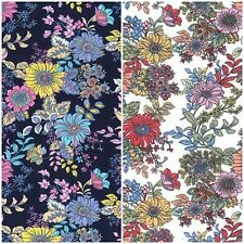 Retro Bold Flowers 100% Cotton Poplin Fabric by Rose & Hubble Vintage Floral