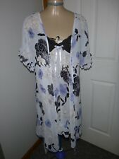 LT BLUE/GRAY W/FLORAL & BLACK LACE APT 9 NIGHTGOWN CHEMISE ROBE PEIGNOIR SET M