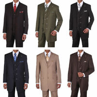 Men's 3 pcs Wool Feel Classic Gangster Pinstripe Suits with Vest 5903