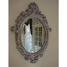 French Vintage Style Distressed Carved Oval Wall Mirror Bevelled Glass by DID