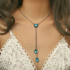 Fashion Boho Blue Crystal Heart Pendant Chain Choker Necklace Women's Jewelry
